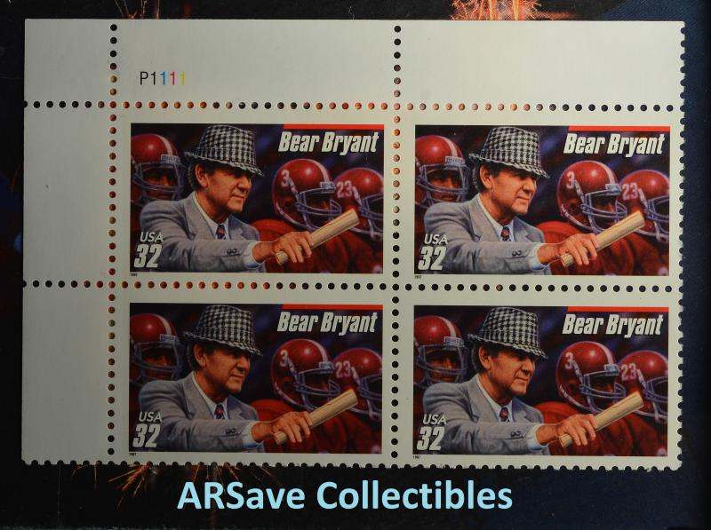 Bear Bryant Block of 4 32c Postage Stamps