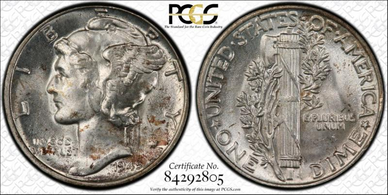 1945 Doubled Die Obverse PCGS Attributed FS-101; Graded MS64