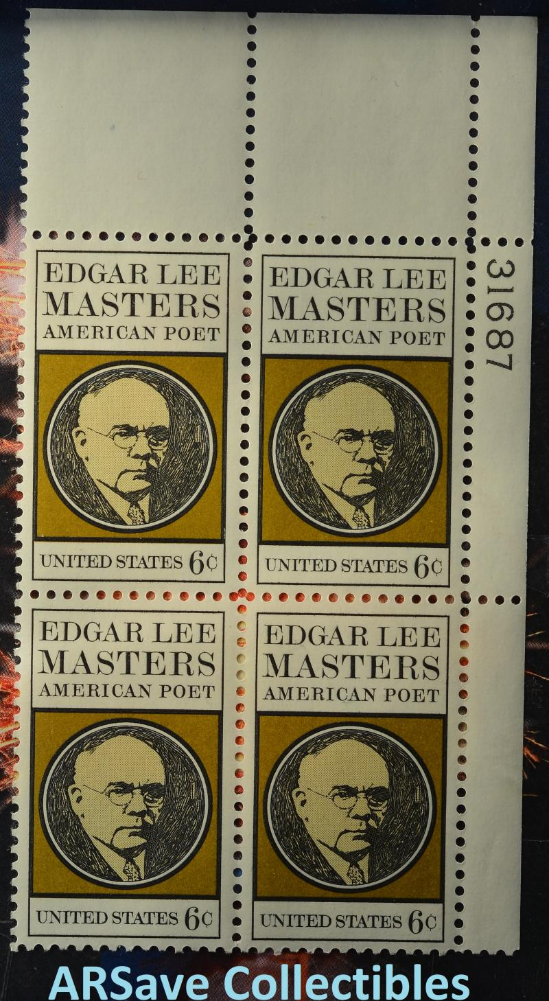 #1405 Edgar Lee Masters block of 4.  1970