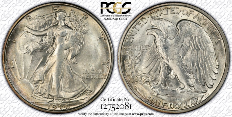 1944-S PCGS Graded Walking Liberty Half MS63