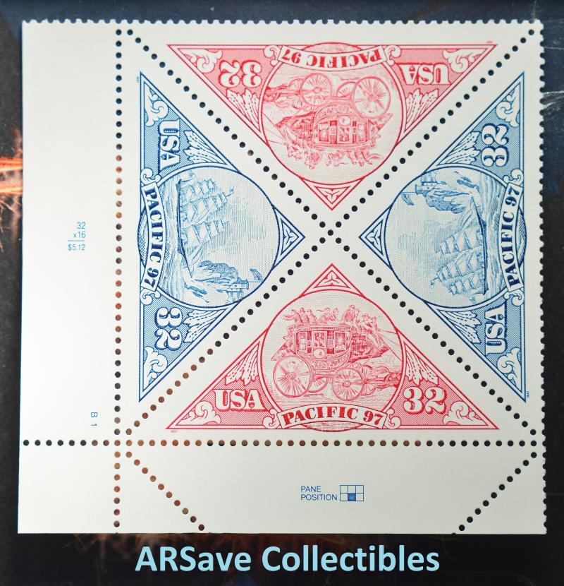 3130 & 3131 Pacific '97 Plate Block 1997 32c Stamps