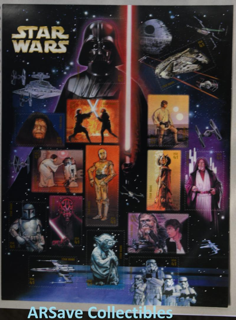 Star Wars US Postage Stamps from 2007. Full unused sheet.